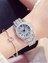 Жен. Модные часы Часы со стразами Кварцевый Защита от влаги сплав Группа Серебристый металл Розовое золото