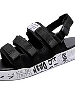 Men's Sandals Comfort Summer Fabric Casual Magic Tape Flat Heel Black/White Black 2in-2 3/4in