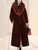 Для женщин Для вечеринок Большие размеры Зима Пальто с мехом Рубашечный воротник,Винтаж Активный Уличный стиль Изысканный Однотонный