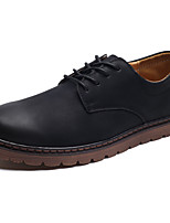Men's Shoes PU Spring Fall Comfort Light Soles Oxfords Lace-up For Casual Brown Black