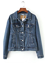 Feminino Jaqueta jeans Para Noite Casual Simples Moda de Rua Primavera Outono,Sólido Padrão Outros Colarinho de Camisa Manga Longa