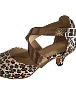 Damen Latin Satin Sandalen Innen Maßgefertigter Absatz Schwarz Leopard