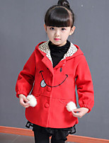 Girls' Patchwork Embroidered Jacket & Coat,Polyester Fall Winter Long Sleeve