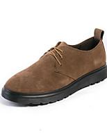 Для мужчин Туфли на шнуровке Удобная обувь Весна Осень Замша Повседневные Черный Хаки Менее 2,5 см