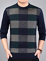 Men's Casual/Daily Simple Regular Pullover,Print Round Neck Long Sleeves Cotton Acrylic Fall Winter Medium Micro-elastic