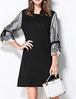Для женщин На каждый день Большие размеры Винтаж Шинуазери (китайский стиль) Оболочка Платье Контрастных цветов,Круглый вырез Выше колена
