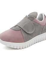 Women's Sneakers Comfort Fall PU Casual Dress Magic Tape Flat Heel Blushing Pink Black 1in-1 3/4in