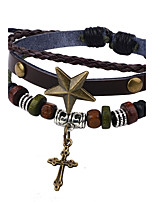 Men's Women's Leather Bracelet Vintage Adjustable Leather Alloy Star Cross Jewelry For Casual Going out
