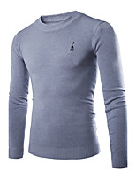 Men's Going out Casual/Daily Simple Regular Pullover,Solid Round Neck Long Sleeves Cotton Winter Medium Micro-elastic