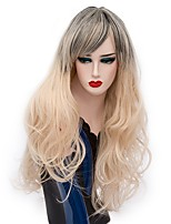 Mujer Pelucas sintéticas Sin Tapa Largo Produndo Dorado claro Pelo Ombre Peluca de Halloween Las pelucas del traje