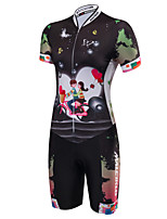 Malciklo Women s Short Sleeve Triathlon Tri Suit - Black Cartoon Bike  Breathable Anatomic Design Reflective Strips Sweat-wicking Sports Polyester  Spandex ... f10ae5e66