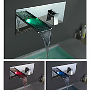 Color Changing LED Waterfall Bathroom Sink Faucet (Wall Mount)