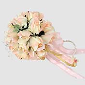 Elegant Champagne Round Wedding Bouquet/ Bridal Bouquet With Chiffon Beads Decoration