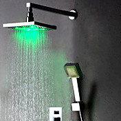 Color Changing LED Shower Faucet with 8 inch Shower Head + Hand Shower