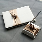 Satin Blush Ivory Wedding Guest Book and Pen Set