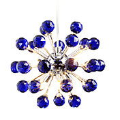 6-light Floral Shape K9 Crystal Pendant-Blue (0942-98004-D-6B)