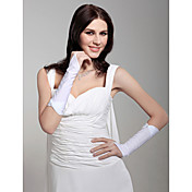 Satin Fingerless Elbow Length With Beading Bridal Gloves