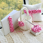 Luxury Wedding Collection Set in Satin With Pink Roses (4 Pieces)