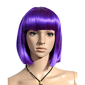 Capless Chin Length High Quality Synthetic Purple Straight Hair Wig