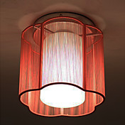 Red Glass Ceiling Light in Floral Cylinder Style