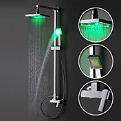 Single Handle Contemporary Color Changing LED Shower Faucet with 8 inch Shower Head + Hand Shower