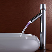 Contemporary Color Changing LED Bathroom Sink Faucet (Tall)