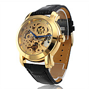 Automatic Mechanical Black Leather Band Wrist Watch with Golden Hollow Engraving Dial