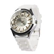 Women's Chrysanthemum Style Dial White Silicone Band Quartz Analog Wrist Watch