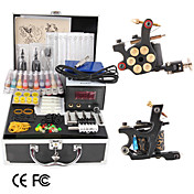 2 Cast Iron Tattoo Gun Kit with LCD Power and 20 Color Ink