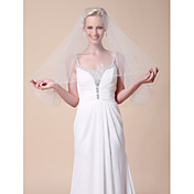 One-tier Elbow Wedding Veils With Cut Edge