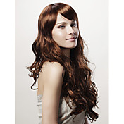 Capless Long Body Wave Brown Synthetic Wig Side Bang