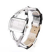 Black PU Leather Band Women's Quartz Wrist Watch with Crystal Decoration