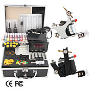 2 Guns Tattoo Kit with LCD Power and 20 Color Ink