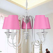 Modern Chandelier with 5 Lights in Pink Shade