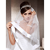 One-tier Fingertip Wedding Veils With Ribbon Edge