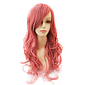 Capless Medium Long Body Wave Synthetic Pink Party Hair Wig