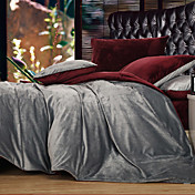 Polyester Solid Grey 3-piece Full / Queen / King Duvet Cover Set