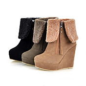 Leatherette Upper Wedge Heel Ankle Boots With Chain Evening Shoes More Colors