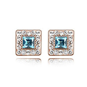 Square Shape Crystal Alloy Earrings More Colors Available