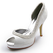 Top Quality Satin Upper  Stiletto Heel Peep Toe With Sequin Wedding Bridal Shoes.More Colors Available