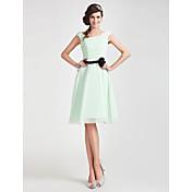 A-line Off-the-shoulder Knee-length Chiffon Bridesmaid Dress