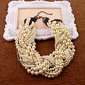 White Imitation Pearl Rhinestone Necklaces