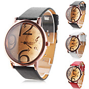 Unisex Big Numbers Dial PU Band Quartz Analog Wrist Watch (Assorted Colors)