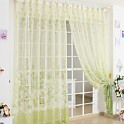 Country Green Print Sheer Curtains (Two Panels)