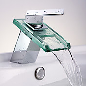 Waterfall Bathroom Sink Faucet with Glass Spout(Chrome Finish)