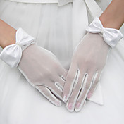 Tulle Wrist Length Bridal Gloves With Bow
