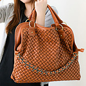 Fashionable Ladies' Braided PU Tote Bag With Chains Front