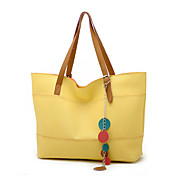 Fashion Women's PU Handbag With Flowers / Brown Handles