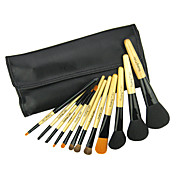 12Pcs Professional Cosmetic Brush With Free Leather Case