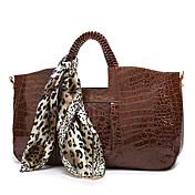 Trendy Ladies' Croco PU Bag With Scarf